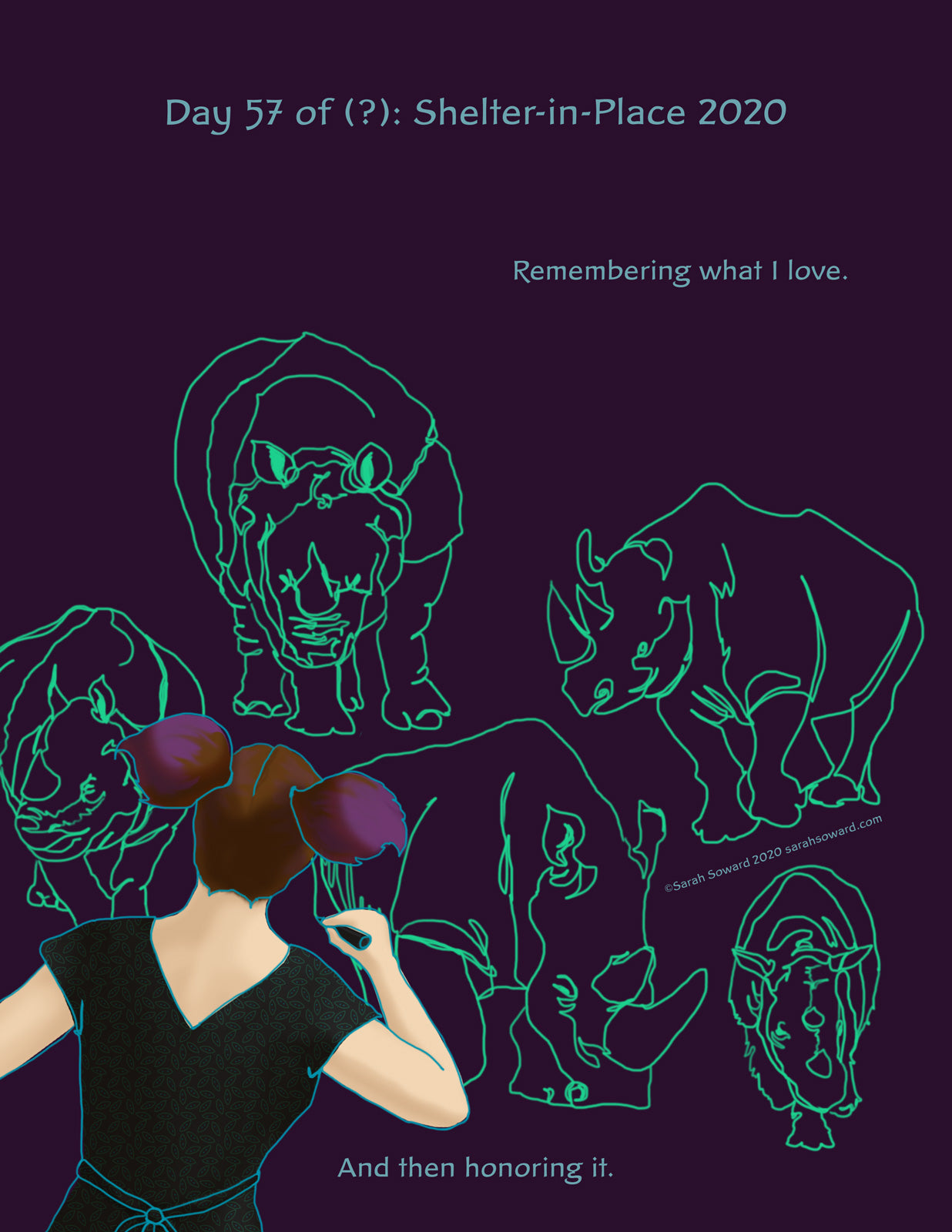 You see the back upper body of a woman drawing in purple space. She's making line drawings of rhinos in glowing green. The text on the image reads  Remembering what I love. And then honoring it.