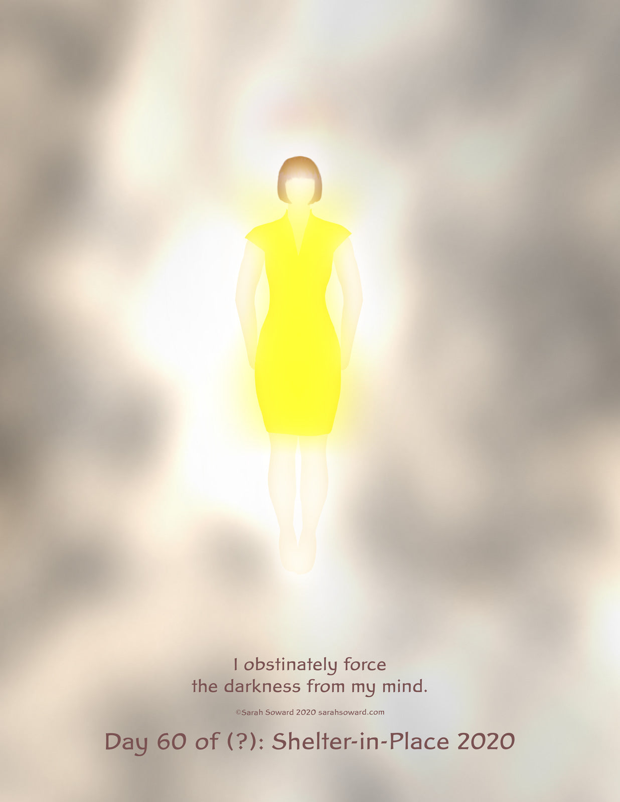 A woman in a yellow dress floats, glowing, in the midst of the curls of her own mind. The text on the image reads  I obstinately force the darkness from my mind.