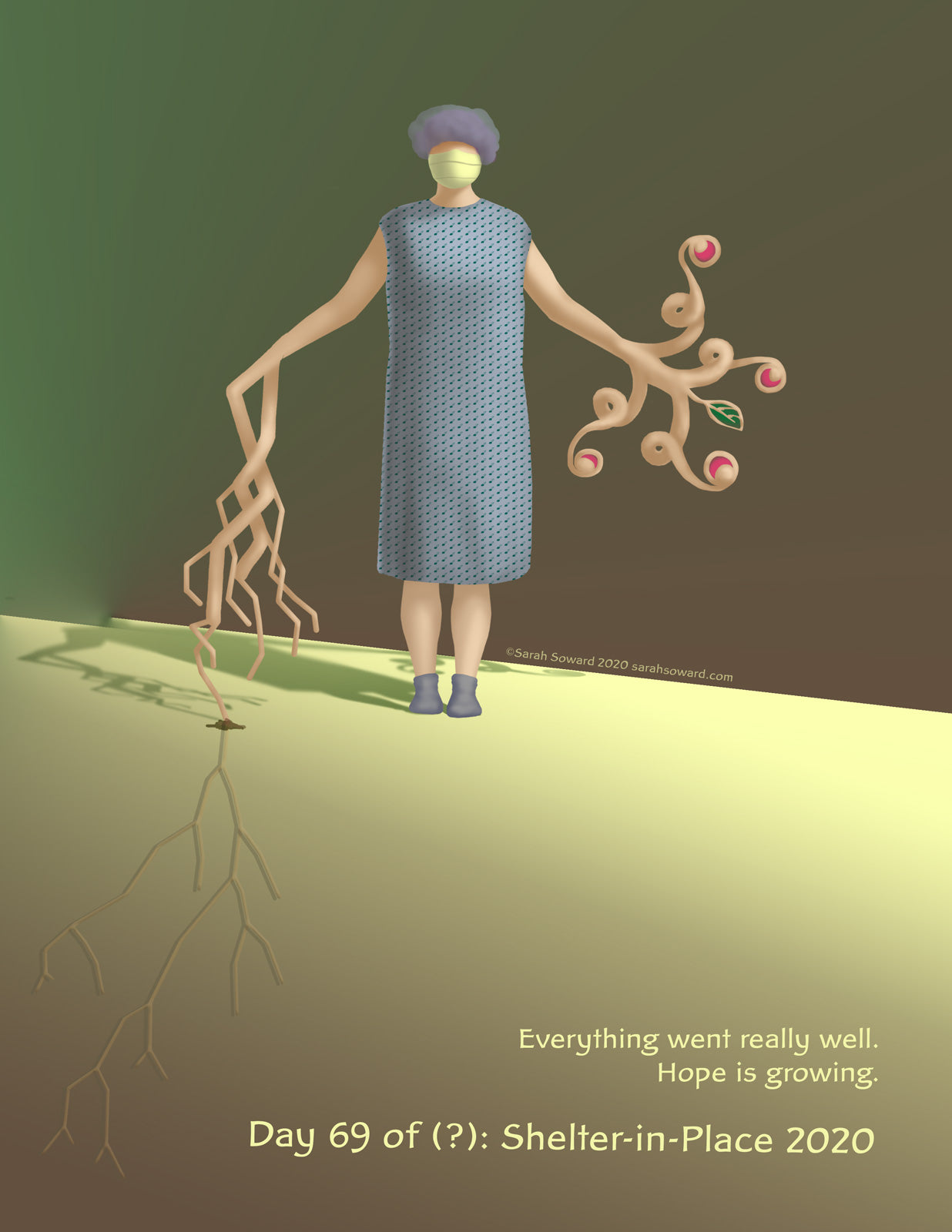 A woman stands in hospital patient garb. One art is turning into a flowering tree or plant. The other arm is turning into a root structure that is embedding itself into the ground. The text on the image reads  Everything went really well. Hope is growing.