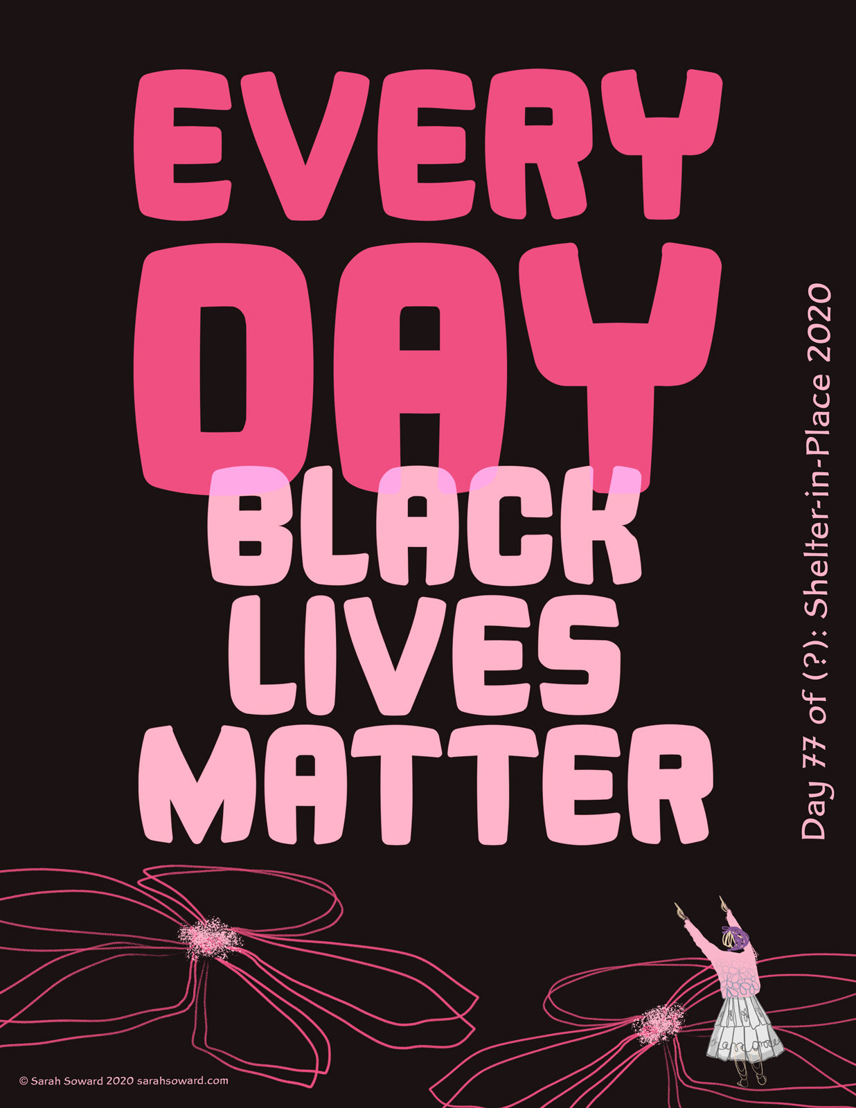 The text on the image reads, Every Day Black Lives Matter. Below the large text are a couple line drawings of flowers and a quick sketch of a woman in a white skirt with a pink-to-blue sweater on pointing up at the words because that's what's really important here.