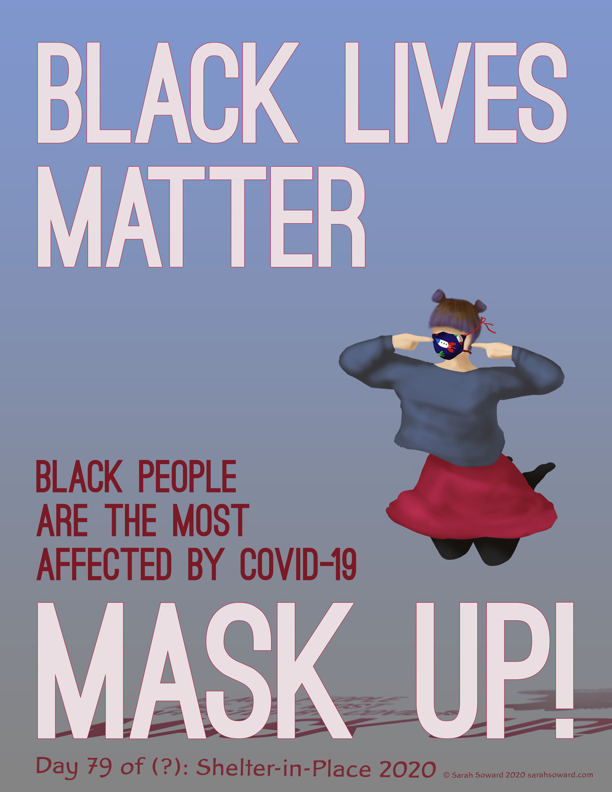 The image reads, Black Lives Matter, Black People are the Most Affected by COVID-19, Mask UP! A woman is jumping into the air in a cute pink skirt and blue-grey sweater while pointing at her rocket-ship-print mask.