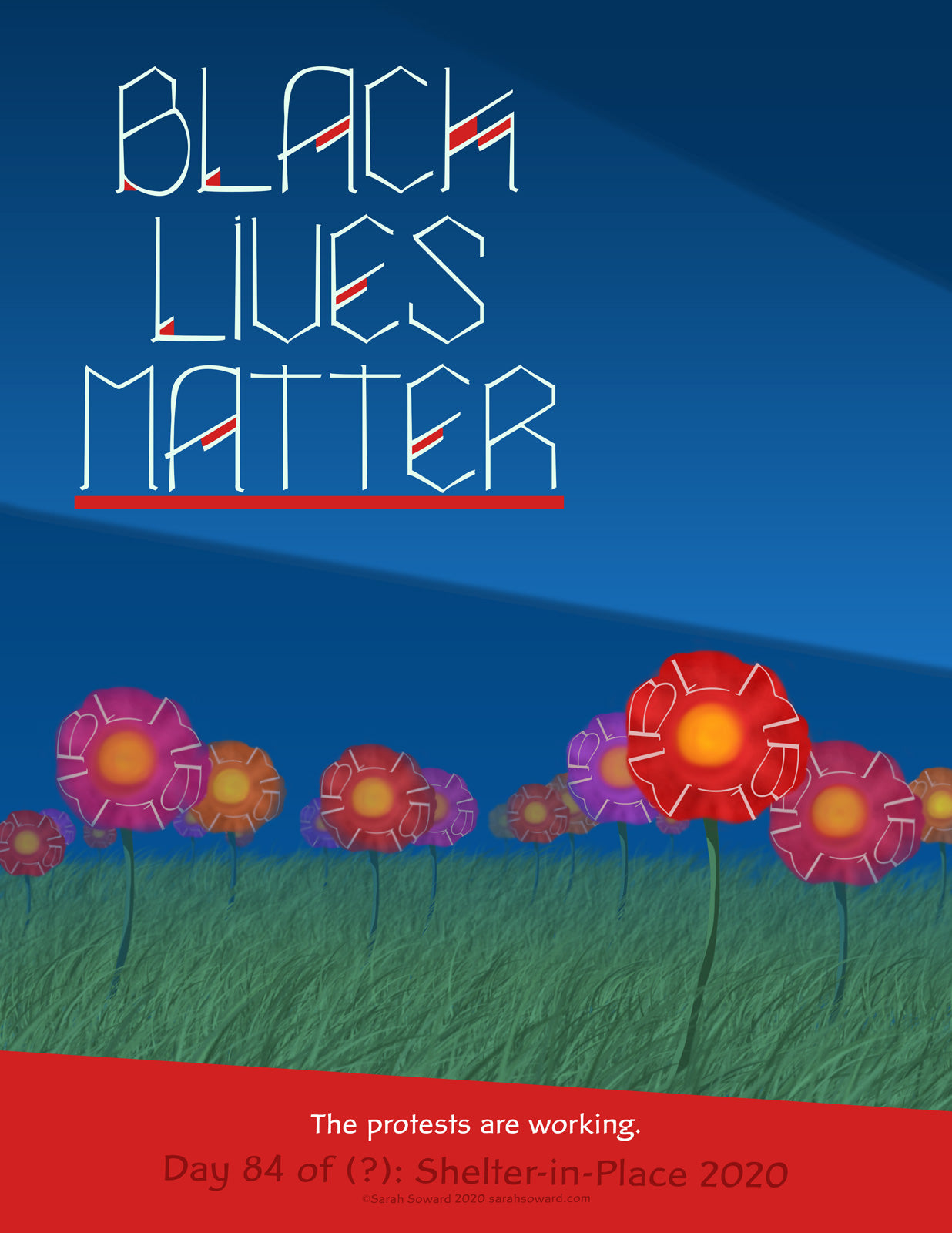 The text on the image reads, BLACK LIVES MATTER The protests are working. It's a little dark out, things might be little scary, but dude! Grass is growing strong and flowers have sprouted. The flowers may be even be flourishing. The petals of the flowers have the letters BLM on them. They are Black Lives Matters flowers.