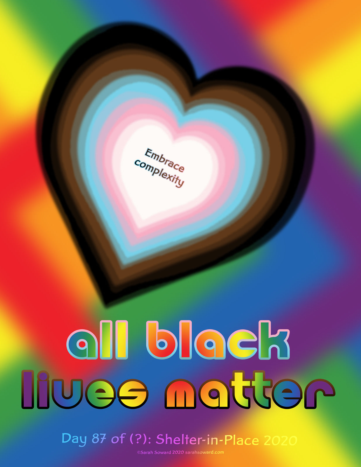 The LGBTQ+ Pride flag colors are featured in this image. The flag was rearranged a bit. the rainbow colors are a big zigzag in the background. The trans, POC, NB, and more colors are a heart i the foreground. The text reads, All Black Lives Matter, Embrace complexity.