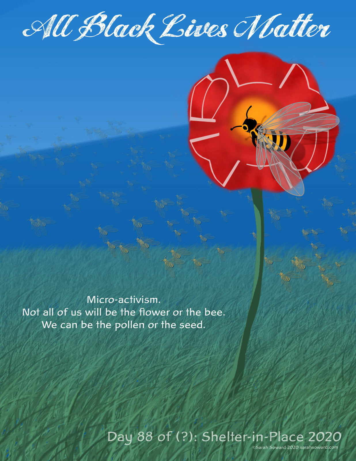 A large BLM flower is rising up from the grass. A bee with ALL spelled out in her stripes is hovering on the blossom. The text on the image reads  All Black Lives Matter Micro-activism.  Not all of us will be the flower or the bee.  We can be the pollen or the seed.