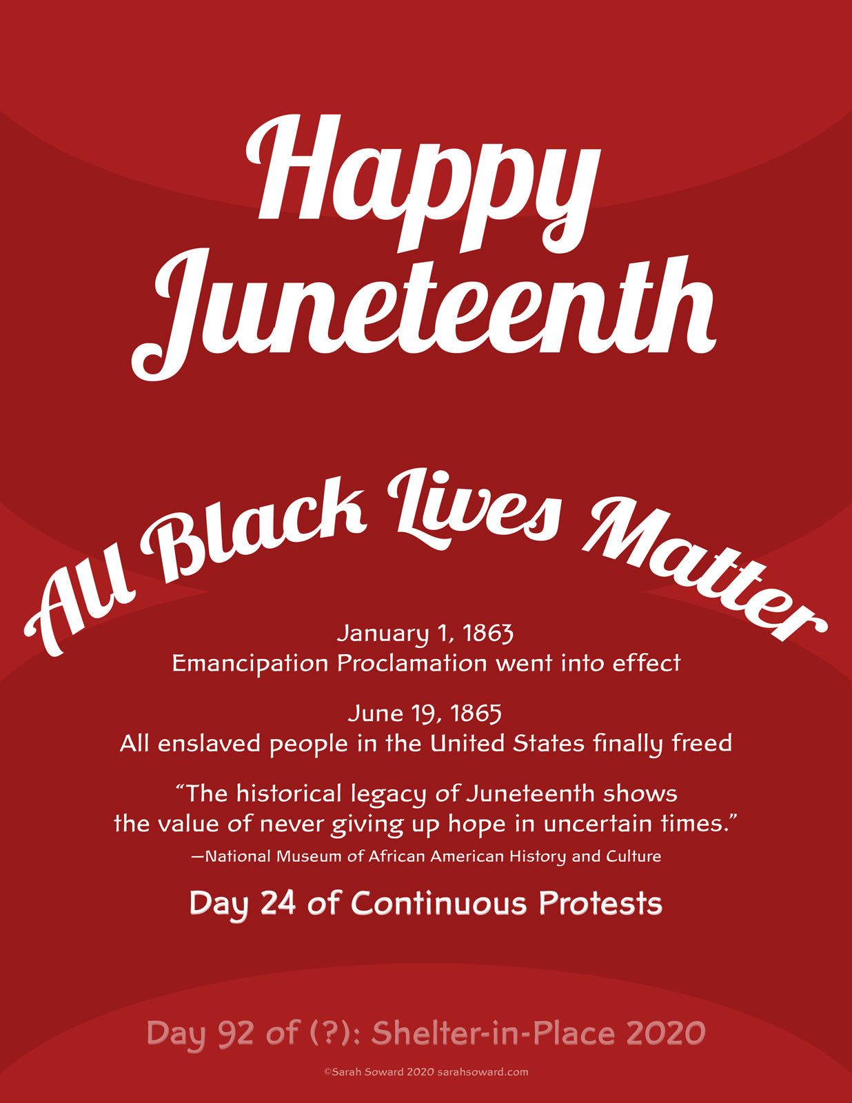 Text based image today. White text on a red background. The text on the image reads  Happy Juneteenth All Black Lives Matter January 1, 1863
