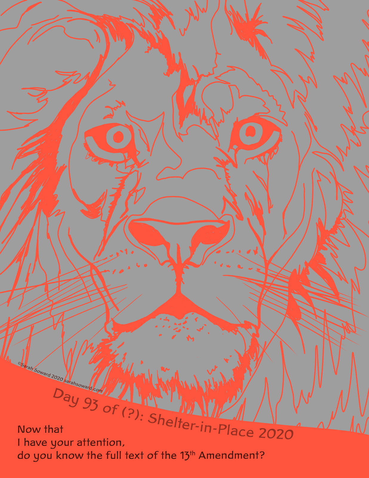 Line drawing of a lion's head, full front view, in electric orange on a grey background. The text on the image reads, Now that I have your attention, do you know the full text of the 13th Amendment?