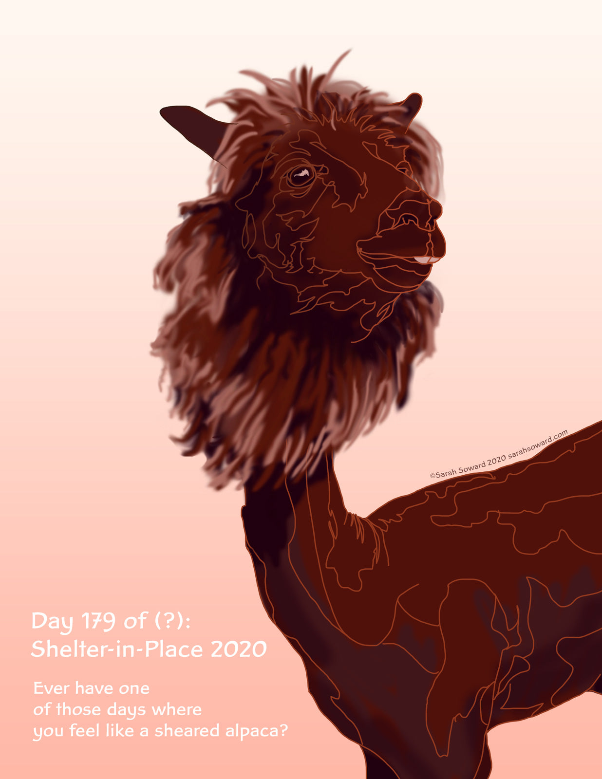 Digital painting os a sienna-colored alpaca looking defiant. It is freshly shorn, with only fluffy alpaca wool left around its face creating a mane of sorts. The background is a gentle pink gradient. The text on the image reads  Ever have one of those days where you feel like a sheared alpaca?