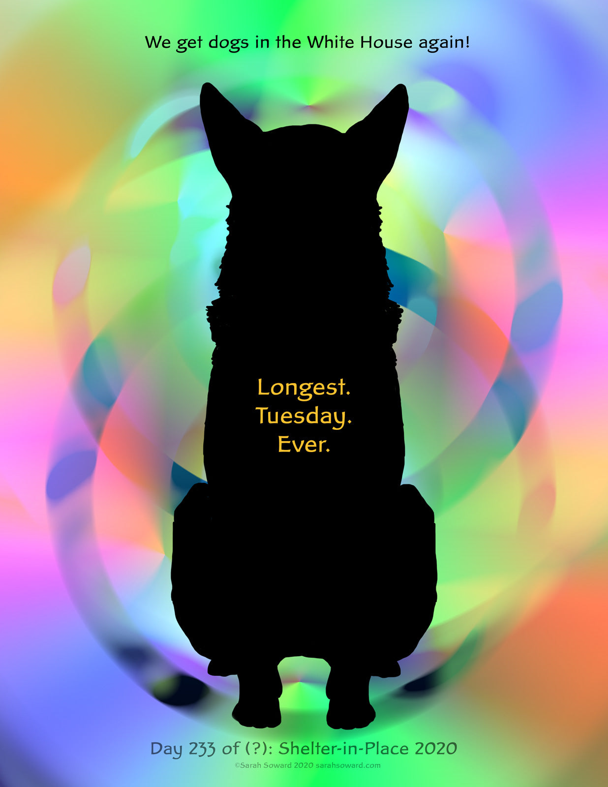 A multi-color background swirls and glows behind the silhouette of a dog. It could be any dog. It gets to be the People's Dog--or dogs. The text on the image reads:   We get dogs in the White House again! Longest. Tuesday. Ever. Day 233 of (?): Shelter-in-Place 2020