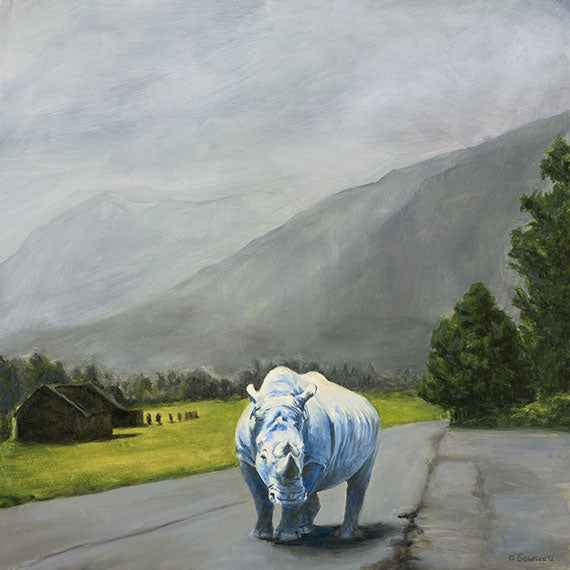 Sky Blue, copyright Sarah Soward, painting of a blue rhino on a road in Norway