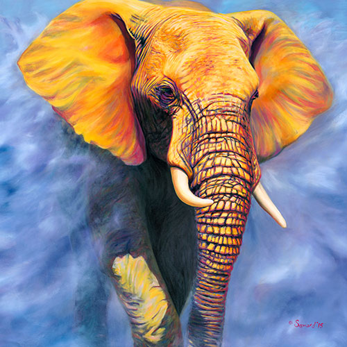 Sol Invictus, copyright Sarah Soward, painting of a yellow elephant emerging from clouds