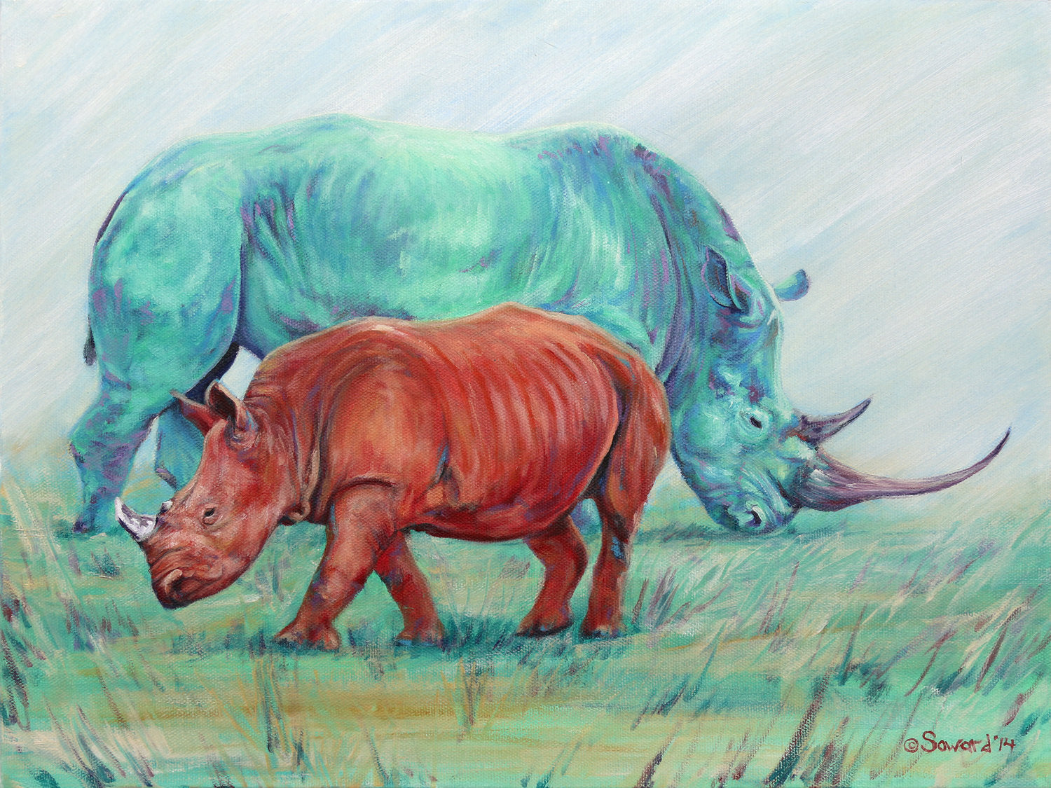 Fire and Life, copyright Sarah Soward, painting of two rhinos, one red and one blue-green