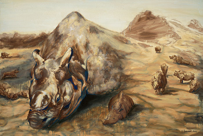 Still Life, copyright Sarah Soward, painting of many rhino species being created and rising up from mud and earth