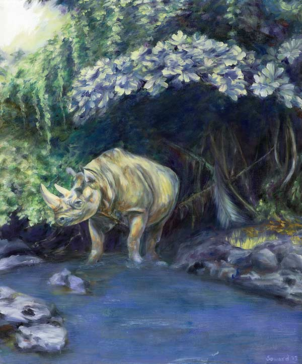 Sugar Water, copyright Sarah Soward, painting of a sweet rhino dipping her toes in water beneath a lush tropical backdrop