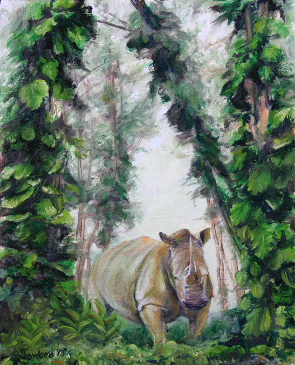 Tell Me About the Forest, copyright Sarah Soward, painting of a rhino in a tropical forest