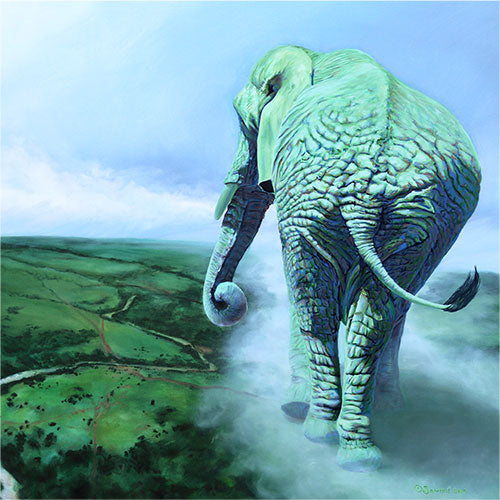Terra Mater, copyright Sarah Soward, painting of green rhino as Mother Earth