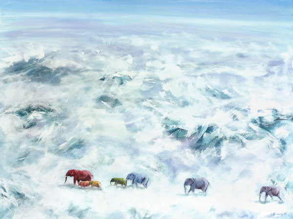 The Messenger, copyright Sarah Soward, painting of a rainbow colored herd of elephants crossing a cloudy and mountainous sky