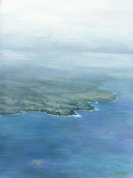 The Same Deep Water as You, copyright Sarah Soward, painting of the Hilo coast of Hawaii with rhinos swimming in the ocean