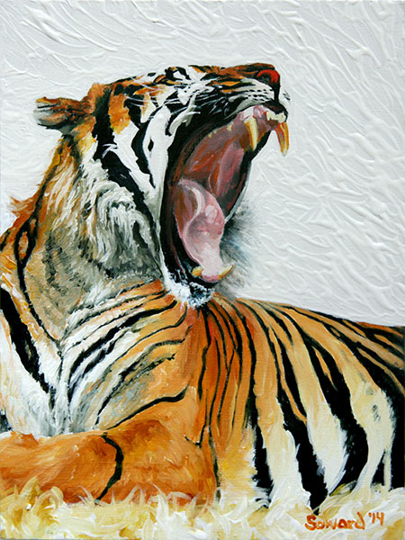 The Yawn, Tiger, copyright Sarah Soward, painting of a tiger yawning