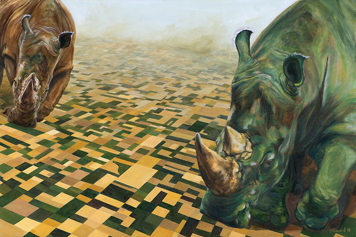 These Hands, copyright Sarah Soward, painting of a green rhino and a brown rhino walking across farmland