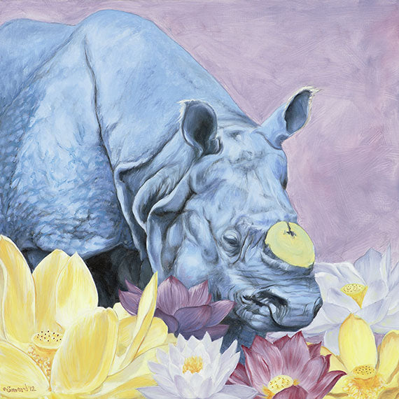 Tusk, copyright Sarah Soward, painting of Guahati, a one horned rhino, surrounded by lotus flowers