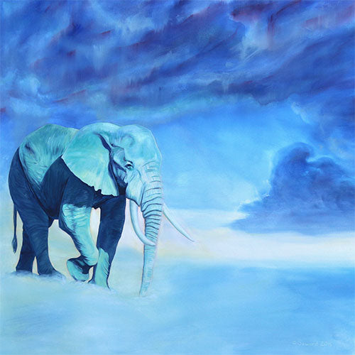 Uranus, copyright Sarah Soward, painting of an elephant in rainy looking clouds with lots of greens and blues