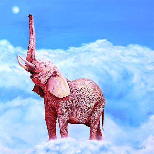 Venus Rising, copyright Sarah Soward, painting of a pink rhino in clouds