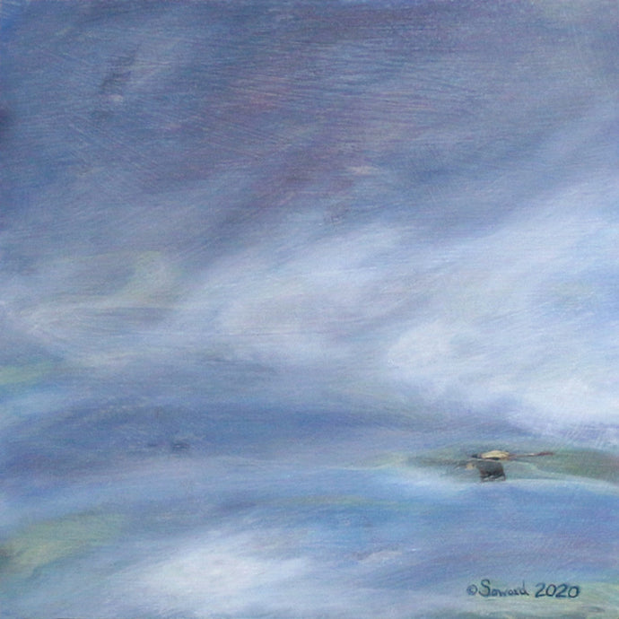 Ae'o Through the Clouds, Hawaiian Black Necked Stilt, Original oil painting