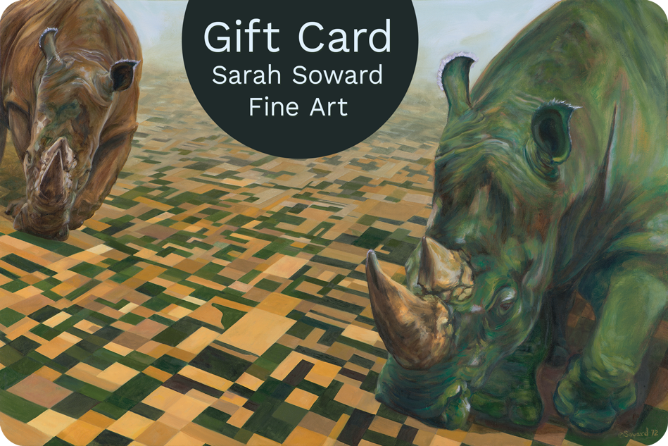 Image of gift card for Sarah Soward Fine Art. The image is the painting, These Hands, showing two enormous rhinos walking over a vast landscape of fields.