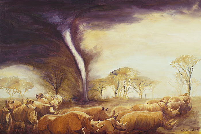 Tornado of Rhinos, Original oil painting
