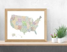 Load image into Gallery viewer, US State Flower Map Art Print