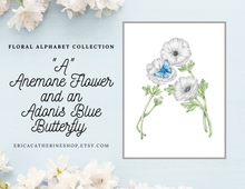 Load image into Gallery viewer, Letter A Initial Floral Art Print