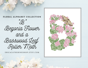 Letter B Floral Initial Art Print
