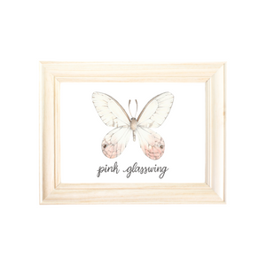 Pink Glasswing Butterfly Art Print