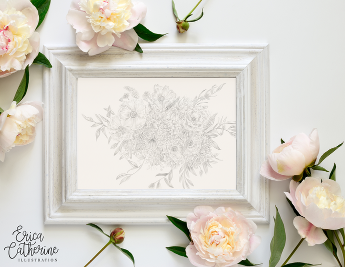 Bridal Bouquet Custom Artwork