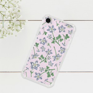 Blue Columbine Pattern Phone Case