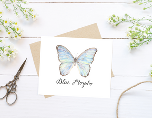 Blue Morpho Butterfly Folded Card