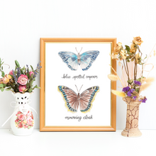 Load image into Gallery viewer, Blue Spotted Emperor and Mourning Cloak Butterfly Art Print