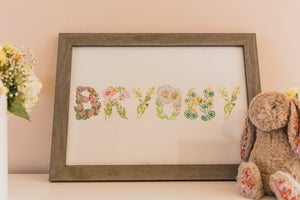 Custom Baby Name Flower Art Print
