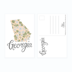 Georgia State Map Postcard