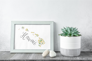 Hawaii State Map Art Print