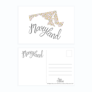 Maryland State Map Post Card