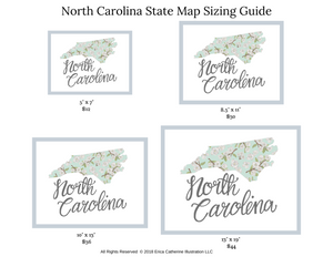 North Carolina State Map Art Print