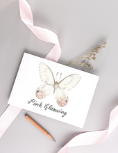 Load image into Gallery viewer, Pink Glasswing Butterfly Folded Card