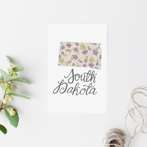 South Dakota State Map Postcard