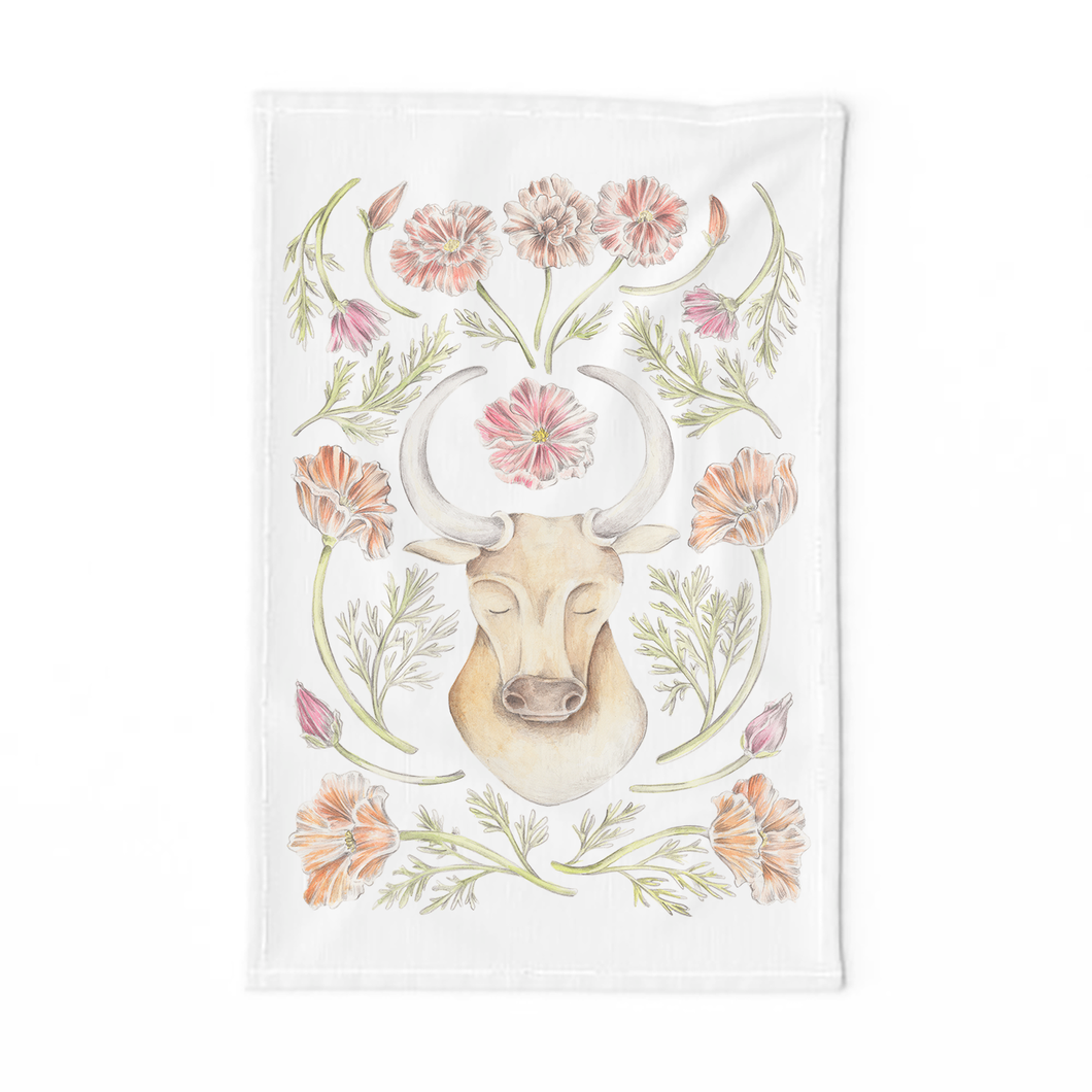 Taurus Sign Tea Towel