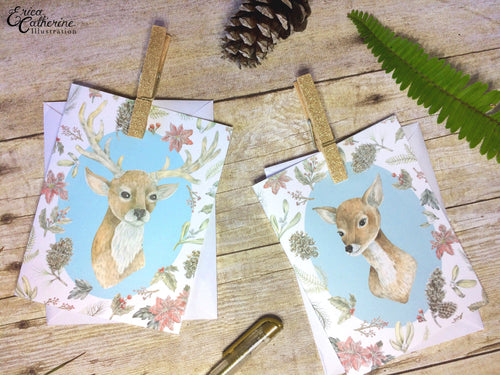 Deer Couple - Woodland Illustration - Greeting Card Set