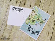 "Load image into Gallery viewer, 4x6"" Post Card Savannah Georgia Coastal Low Country Hand lettering Watercolor Map Handmade Post Card"