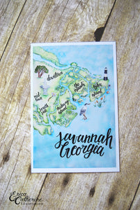 "4x6"" Post Card Savannah Georgia Coastal Low Country Hand lettering Watercolor Map Handmade Post Card"