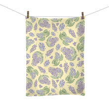 Load image into Gallery viewer, Lilac Illustrated Floral Tea Towel - New Hampshire State Flower