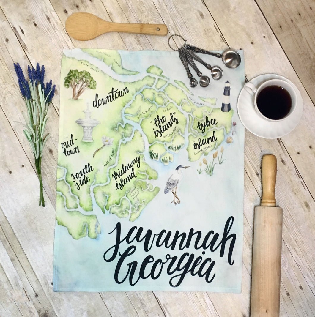 Savannah Georgia Tea Towel